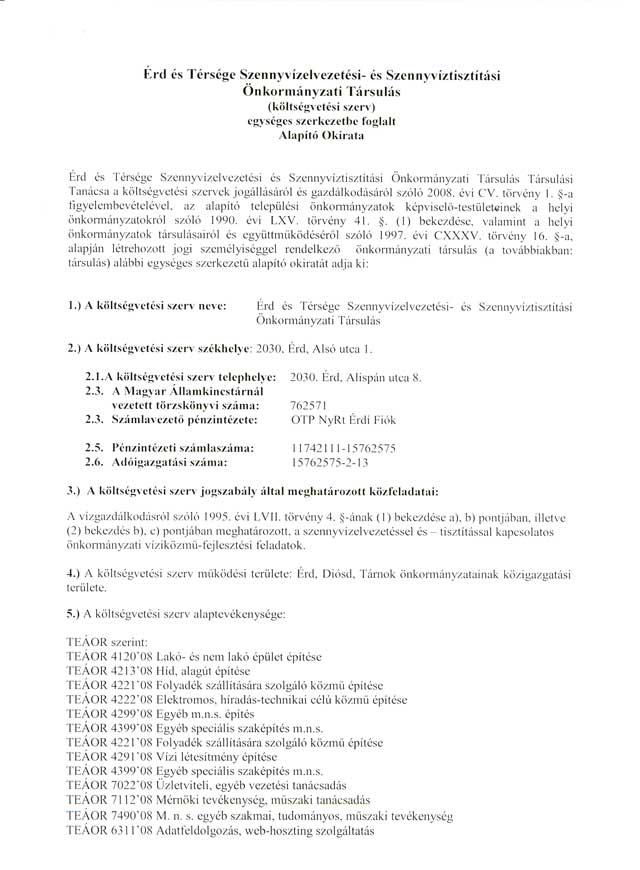 Alapító okirat 1. oldal