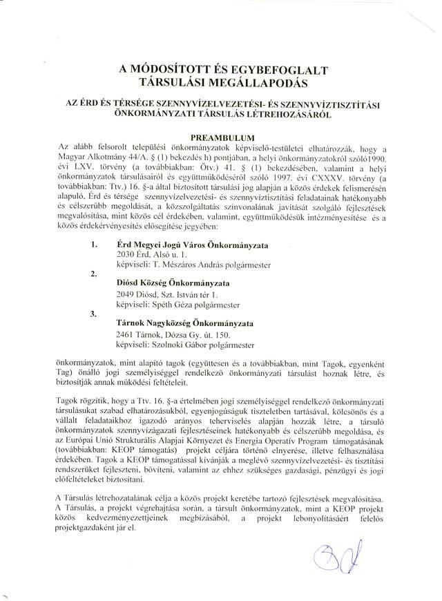Társulási megállapodás 1. oldal