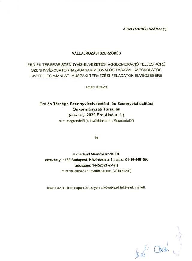 Tervezői szerződés 1. oldal
